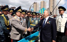 Participation in the military parade on the Day of the Fatherland Defender and the 25th anniversary of Kazakhstan's Armed Forces